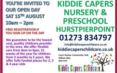 Open Day, Saturday 15th August at Kiddie Capers Nursery