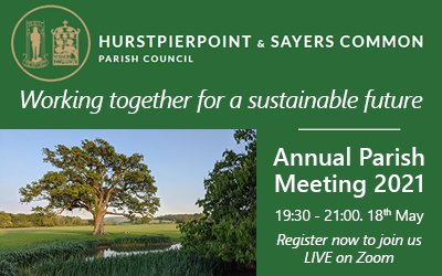 Annual Parish Meeting – Working Together For a Sustainable future – 18th May 2021 at 7:30pm – Register FREE today to be part of an exciting meeting.